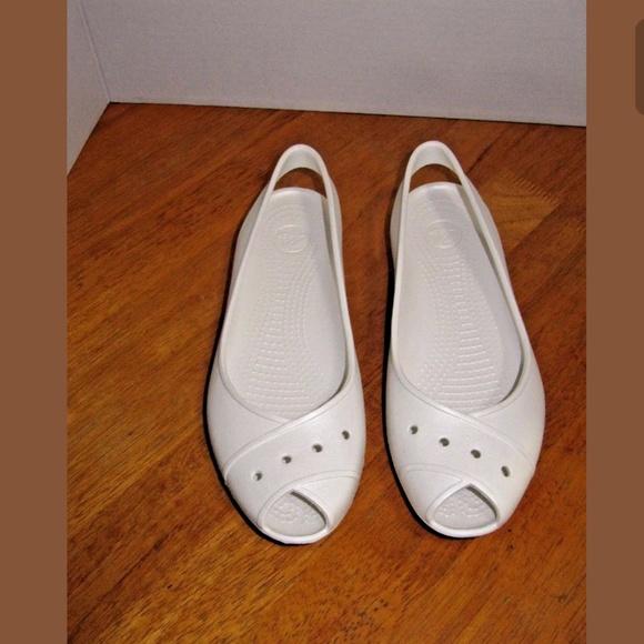94ce492ef2 Crocs Shoes | White Peep Toe Wedge Heel Slingback Sandals | Poshmark
